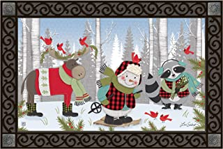 Studio M MatMates Winter Fun Snowman Christmas Decorative Floor Mat Indoor or Outdoor Doormat with Eco-Friendly Recycled Rubber Backing, 18 x 30 Inches