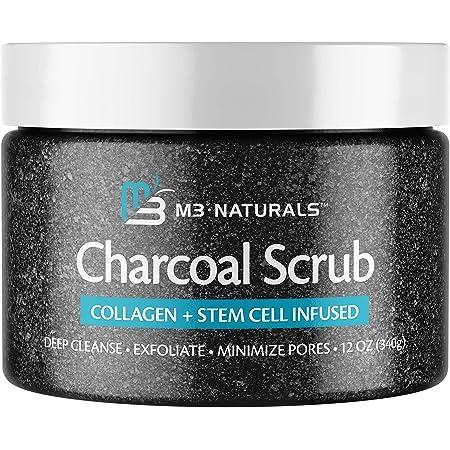 M3 Naturals Charcoal Exfoliating Body Scrub with Collagen & Stem Cell - Gentle Body Exfoliator, Face Scrub, Bump Eraser, Booty Scrub - Best Shower Scrub - Skin Exfoliant for Men & Women 12 oz