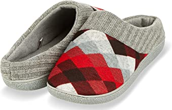Floopi House Slippers for Women| Argyle Knit/Terry Lined & Ribbed Hand-Knit Collar Clog | Hard Rubber Sole for Indoor/Outdoor Use| All-Season Bedroom Slip-on W/Memory Foam Insole