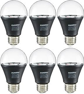 Sunlite 80114-SU LED A19 ブラック電球 2ワット 並形口金 (E26) 365nm 波長 グローパーティー ブラックライトブルー 装飾 特殊効果 セキュリティアプリケーション、ETL認証済み 1パック 6 Pack ブラック 40741-SU 6