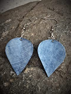 J.Leaf Studio- Handmade Blue Denim Leaf Dangle Drop Earring Casual Street Style Jewelry Refashion Upcycle Fabric Earrings – 1 1/4 Inches Wide by 2 3/4 Inches Long with Ear Wire