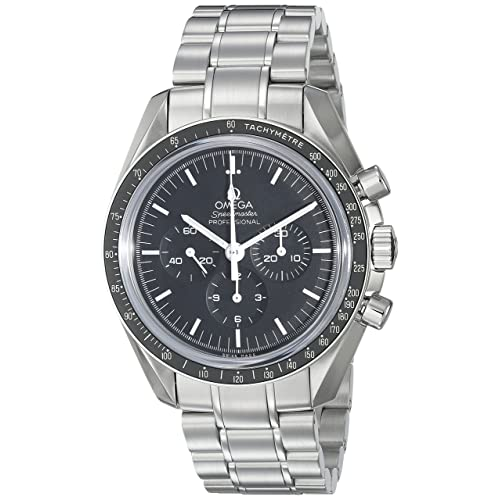 Omega Mens 31130423001005 Speedmaster Analog Display Mechanical Hand Wind Silver with Black Dial Watch