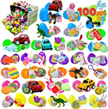 """100 PCs Toys Plus Stickers Prefilled Easter Eggs Premium Hinged 2 3/8"""" for Easter Theme Party Favor, Eggs Hunt, Basket Stuffers Fillers, Birthday Party Decorations(Quality Toys)"""