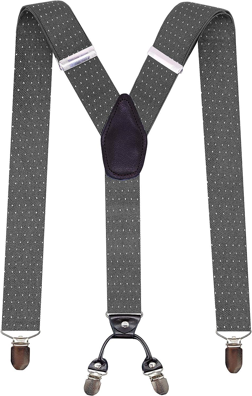 Polka Dot Y Shape Suspenders 1.4In Wide Heavy Duty Braces&4 Sturdy Durable Clips