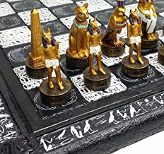 16 Egyptian Chess Set with Black & White Hieroglyphics Egypt Board by HPL
