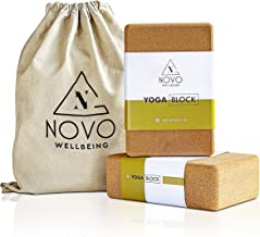 NOVO Wellbeing Cork Yoga Block for Stretching and Exercise high Density yogablocks for Stability eco Friendly Natural Non ...