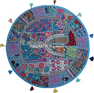 DK Homewares Indian Traditional Floor Cushion Bohemian Turquoise 32 Inch Patchwork Yoga Pouf Ottoman Home Decor Embroidered Vintage Cotton Round Floor Pillow Bohemian 32x32