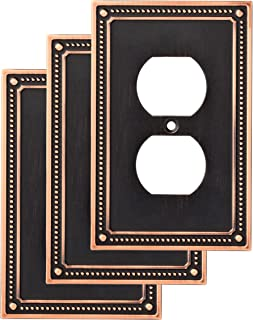 Franklin Brass W35059V-VBC-C Classic Beaded Single Duplex Wall Switch Plate/Cover, 3 pack, Bronze With Copper Highlights