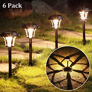 MAGGIFT 25 Lumen Solar Powered Pathway Lights, Super Bright SMD LED Outdoor Lights, Stainless Steel & Glass Waterproof Light for Landscape, Lawn, Patio, Yard, Garden, Deck Driveway, 6 Pack, Warm White