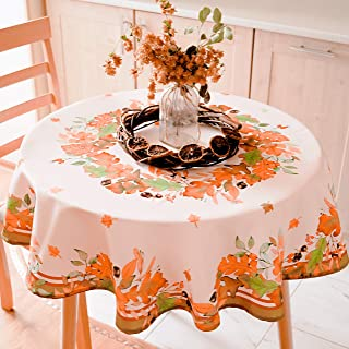 AHOLTA DESIGN Non-Iron Stain Resistant Thanksgiving Table Cloth – Fall Table Cover Home Dining Room Table Protection - Stylish Ivory Thanksgiving Decorations (Thanksgiving Tablecloth, Round 84