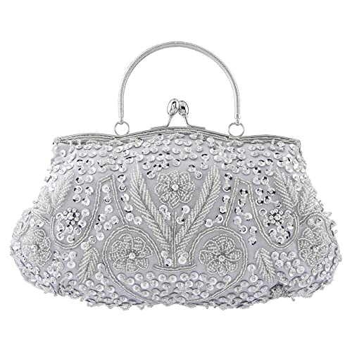 810fffbb6e Bagood Women s Vintage Clutches Purses Evening Bags Handbag Shoulder Bag  Seed Beaded Sequin Flower for Wedding