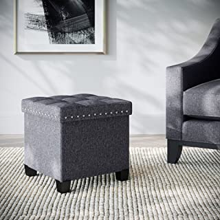 Nathan James Payton Foldable Storage Ottoman Footrest and Seat Cube, Gray