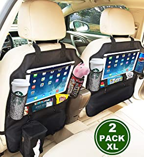 SRAMI 踢腳墊汽車座椅靠背?;ぷ爸?座椅背面收納袋 2 件 XL 帶 1 個紙巾盒透明 33.02 cm iPad 座大收納袋