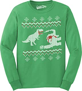 Crazy Dog T-Shirts Dinosaur Snack Funny Ugly Christmas Sweater Long Sleeve Shirt