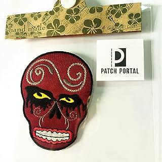 Patch Portal Brown Skull Patriotic Emblem 3.5 Inches Tattoo Pattern Design Biker Rocker Motorcycle Skeleton Embroidered Ir...