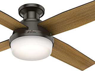 Hunter Fan 52 inch Low Profile Ceiling Fan with LED Light and Remote, Noble Bronze (Renewed)