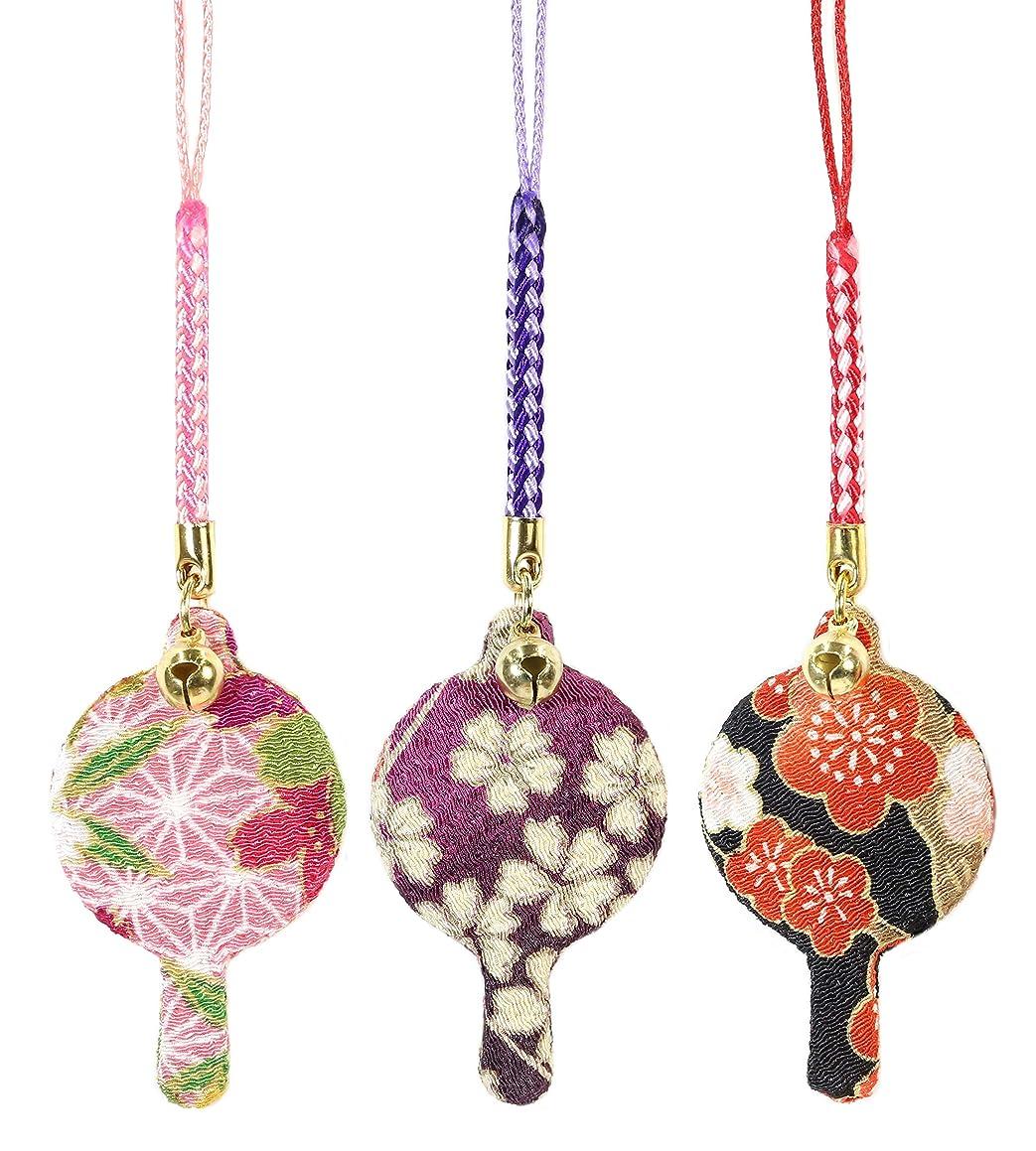 養う知的晩餐ZOON(ズーン) 花ちりめん ミニハンドミラー お得なセット1(3個入) 和柄 着物 ちりめん 生地 布製 根付け ミニ鏡 日本製 お土産 セット1(桃色、紫、梅)