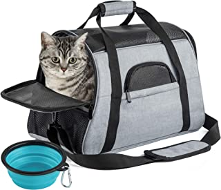 SOUNDY Pet Carrier for Cat and Dog, Portable Folding Pet Carrier Airline Approved, Suitable for Small Dogs, Puppies, and M...