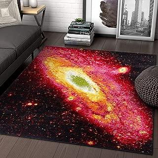 Well Woven Starburst Galaxy Multi Red Yellow Orange Swirl Lines Modern Geometric Abstract 5x7 (5'3