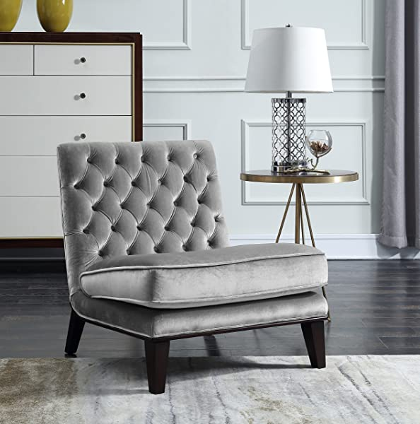 Iconic Home Paris Modern Neo Traditional Tufted Velvet Slipper Accent Chair Grey