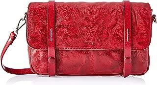 Trifine Unisex Concrete Leather Satchel, Red, One Size