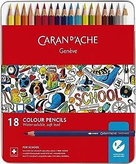 Caran Dache - Barattolo in metallo con 18 matite colorate solubili in acqua, colori assortiti
