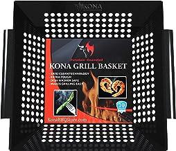 Kona Best Vegetable Grill Basket - Safe/Clean Porcelain Enameled BBQ Grilling Basket (Large 12x12x3 inches) for Veggies, K...