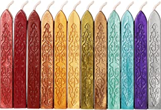 Bememo 12 Pieces Sealing Wax Sticks with Wicks Antique Fire Manuscript Sealing Wax for Wax Seal Stamp (12 Colors A)