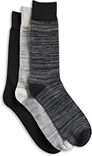 Harbor Bay by DXL Big and Tall 3-pk Space-Dyed Crew Socks, Black Assorted