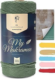 My Makramee - Makramee Garn Olivgrün 3mm x 100m  Makramee Buch zum herunterladen - 100% EU Konform - Makramee Set - Makramee Garn farbig - Makramee Starter Set - Makramee Garn Set