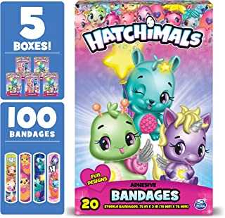 Hatchimals Kids Bandages, 100 ct | Adhesive Antibacterial Bandages for Minor Cuts, Scrapes, Burns. Easter Basket Stuffers for Kids & Toddlers