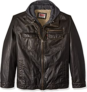 Levi's Men's Vintage Deer Faux Leather Sherpa Lined Trucker Hooded Jacket (Regular and Big and Tall Sizes)
