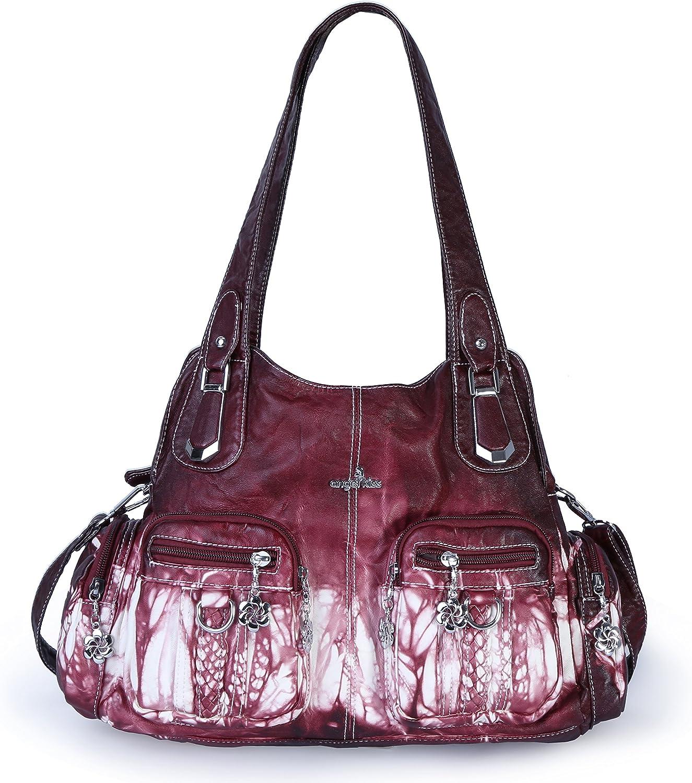 Angelkiss ShoulderHandbag for Women Crossbody Purse with Washed PU Leather Satchel Bag Massage Bag Fits Ipad