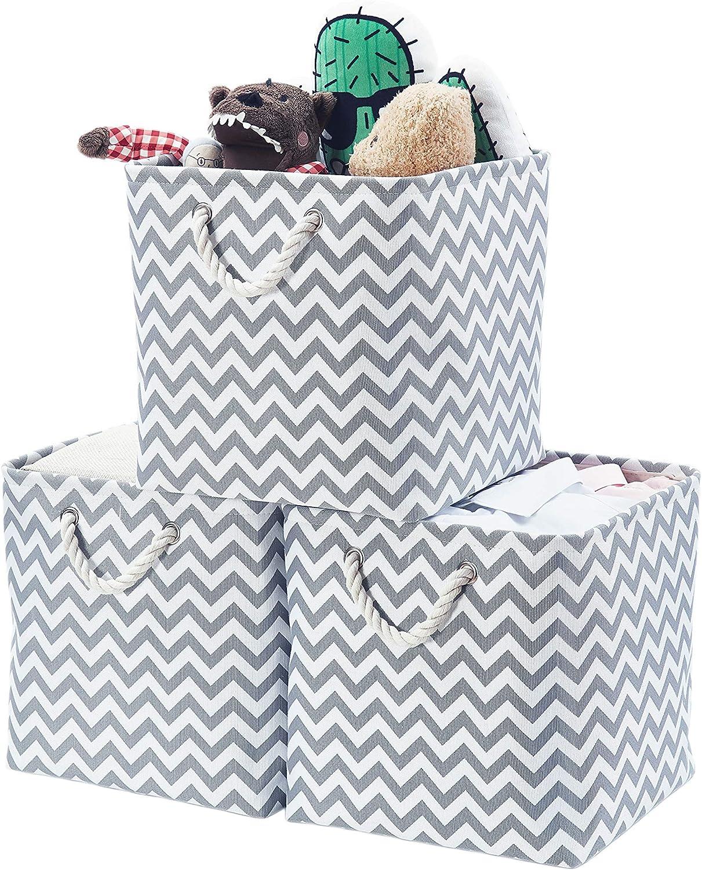 Chevron Grau 3er-Set 13x13 x13 AlphaHome Zusammenklappbare Aufbewahrungsw/ürfel aus Leinenstoff f/ür Kleidung und Spielzeug