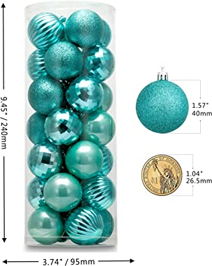 """AUXO-FUN 1.57"""" 28ct shatterproof Christmas Ball Ornaments in 4 Classic finishes for Christmas Tree Decoration (Turquoise Blue)"""