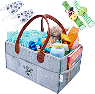 HugnHugs Baby Diaper Caddy Organizer for Changing Table - Baby Registry Must Haves for Boys and Girls - Storage Caddy station- Portable Diaper Caddy - Diaper Basket Organizer - Baby Nursery Organizer