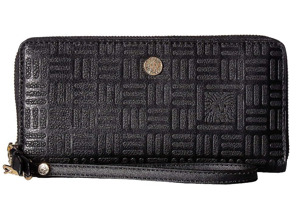 Anne Klein Emboss Lion Logo Slim Zip Around Wristlet (Black) Handbags