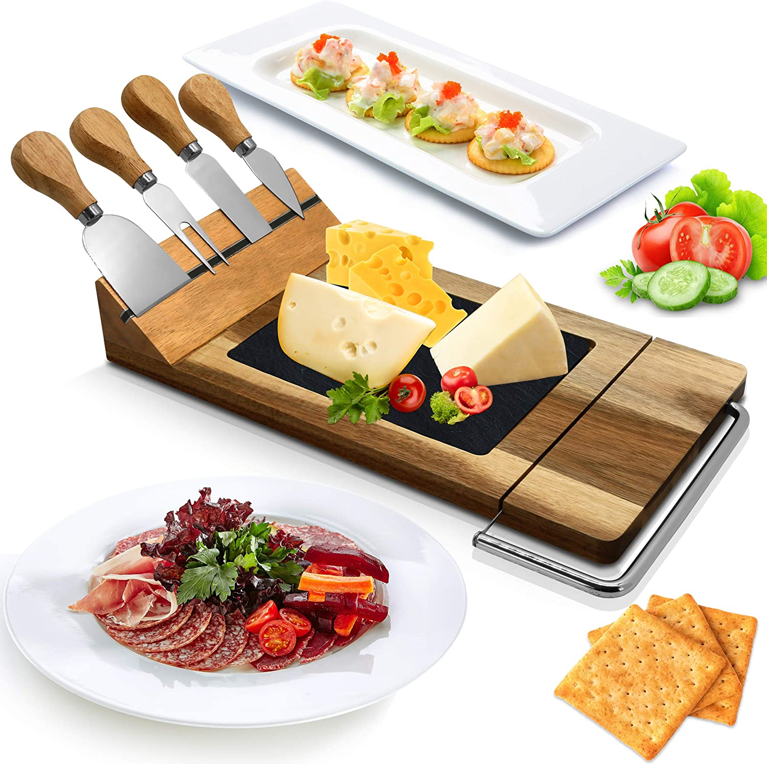 Nutrichef PKCZBD50 Bamboo Serving & Food Slicer Platter-Cheese Board Presentation Set with Built-in Slicing Blade, Slate Stone Slab, One Size, Brown
