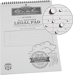 "Rite in the Rain Weatherproof Legal Pad, 8.5"" x 11"", Gray Cover, Legal Pattern (No. LP785)"