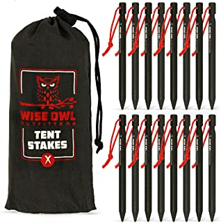 Wise Owl Outfitters Tent Stakes 7075 Heavy Duty Aluminum Metal Ground Pegs - 16 Pack to Stake Down A Tarp and Tents - Best...
