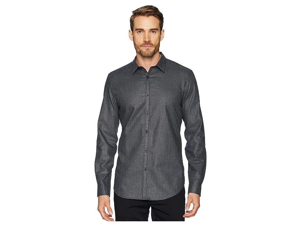 Calvin Klein Long Sleeve Seersucker Shirt (Black) Men