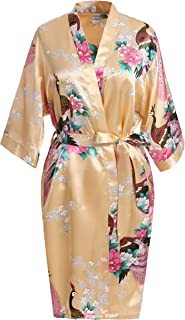 USDisc't Elegant Short Sleeve Printing Peacock Silk Women's Kimono Robe for Parties Wedding Bridal and Bridesmaid