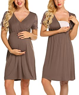 6805c71650 MAXMODA Womens Delivery Labor Maternity Nursing Nightgown Pregnancy Gown  for Hospital Breastfeeding Dress