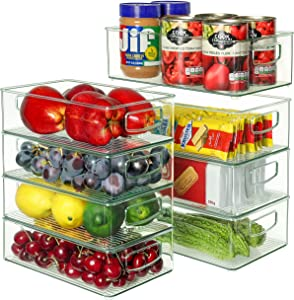 Set Of 8 Refrigerator Organizer Bins - 4 Large and 4 Medium Stackable Plastic Clear Food Storage Bin with Handles for Pantry, Freezer, Fridge, Cabinet, Kitchen Countertops - BPA Free