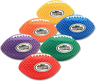 Fun Gripper 8.5 Inch Pee Wee Grip Zone (Solid) Mesh Color Grip Footballs (Set of 6) Assorted Colors