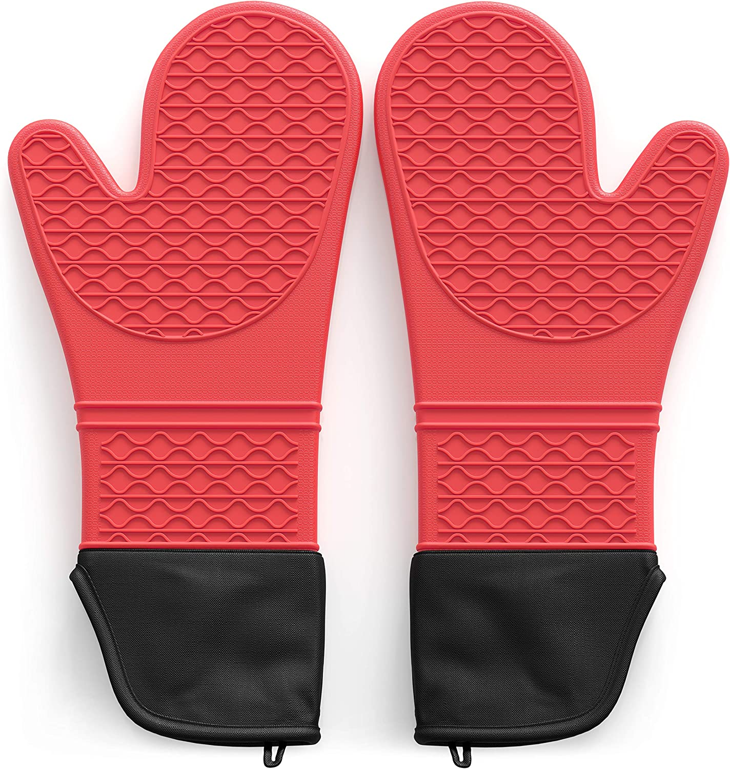 Tribal Cooking Extra Long Oven Mitts - Silicone Oven Mitt Set - Heat Resistant Mittens and Pot Holders - Silicone Kitchen Baking Gloves - Heat Resistance to 500 Degrees, Non Slip, Double Layered