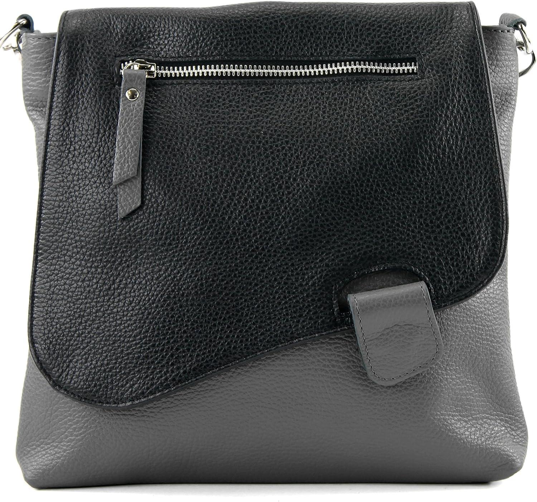 modamoda de - messager ital/sac à bandoulière en cuir T146 Gris Foncé / Noir