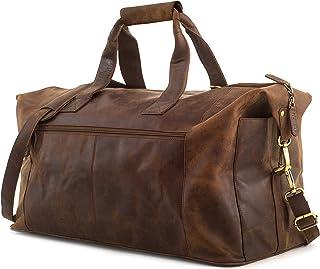 LEABAGS Dubai reistas/weekend/reishandbagage/boordbagage/cabinegrootte; van echt buffelleer, vintage, nootmuskaat,