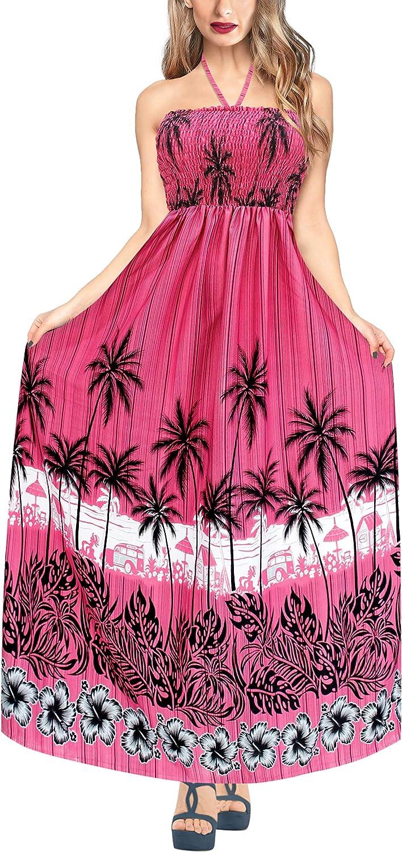 LA LEELA Womens Skull Print Halloween Costume Tube Dress Beach Casual Sundress A