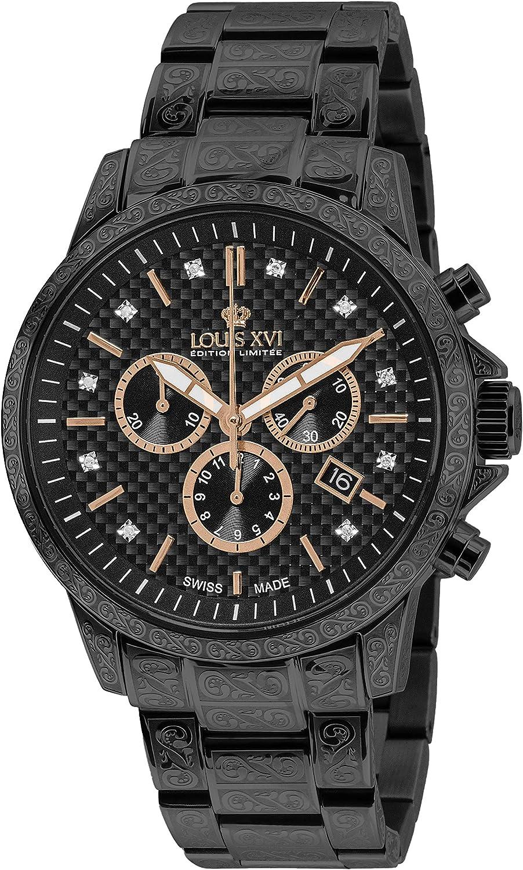 LOUIS XVI Palais Royale 894 - Reloj de pulsera para hombre, correa de acero negro al carbono, diamantes auténticos, cronógrafo, analógico, cuarzo, acero inoxidable